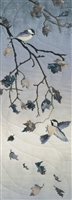 Chickadees on an oak tree branch, with wind swirling the falling leaves. Laser Kit.
