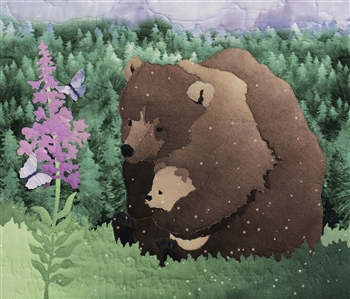 Mama bear and her cub watch butterflies drink from a Fireweed bloom. Laser Kit.