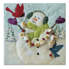 A snowman is celebrating snowfall with two bird friends and a popcorn and cranberry garland. Laser Kit.