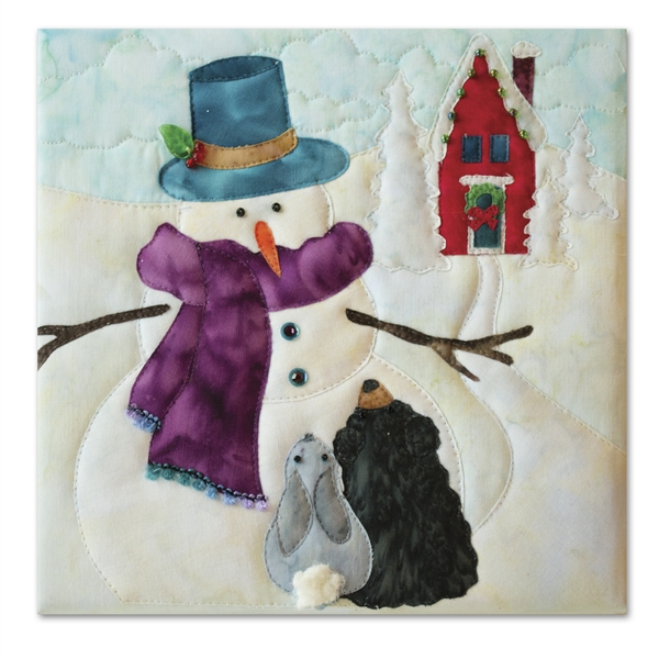 A snowman tells a riveting tale to a bunny and a bear cub, with a schoolhouse decorated for the holidays visible in the background. Laser Kit.