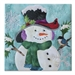 A smiling snowman is wearing a hat and scarf, while a cardinal and a blue bird perch on him. Laser Kit.