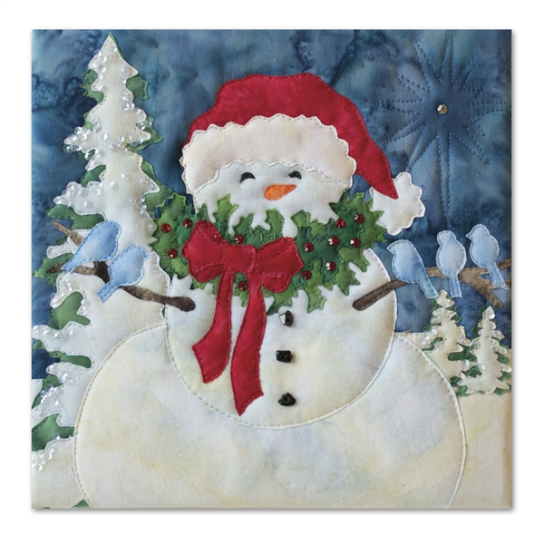 A snowman goes caroling with armfuls of blue birds. Laser Kit.