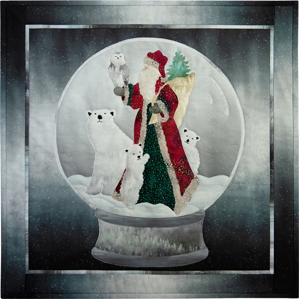 Saint Nick holds a wise owl while polar bears gather around in a winter snow globe scene