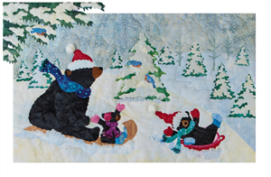 A quilt block with mama bear and her two babies sledding down a snowy hill.