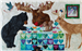A quilt block with a Moose, mama and baby bear, a deer and a squirrel assembling a quilt of heart blocks.