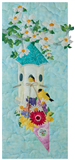 A bird house hanging on a flowering tree branch, with a bouquet of beautiful, colorful flowers hanging off the front. Two small yellow birds are sitting on the flowers and in the bird house.