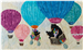 mama bear and her two babies floating in a group of hot air balloons, waving at each other! mama continues her mission collecting fabric.