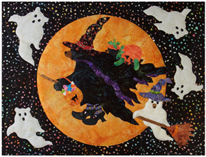 Mama bear dressed as a witch for halloween, flying on her broom in front of a harvest moon. Baby bear in a pumpkin costume is on her back and baby bear as a ghost in on the broom too. Bear ghosts float around them in the sky!