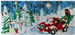 mama bear and her cubs are in their classic red pickup truck, pulling away from a snow covered Christmas tree lot with their tree. the lot is all lit up with glittering lights and covered in a blanket of snow.