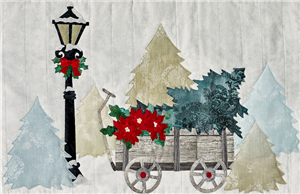 laser cut fabric kit for Joyeux Noel Wagon quilt block