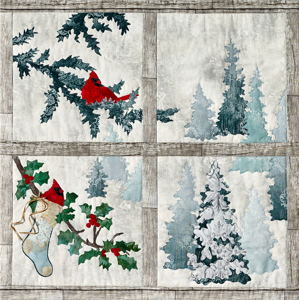 laser cut fabric kit for Joyeux Noel Window quilt block
