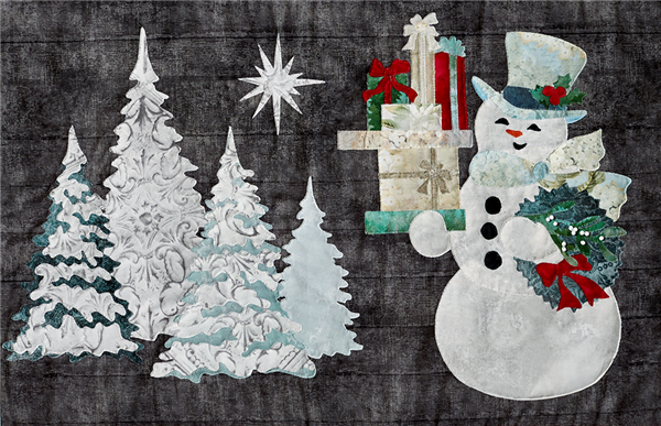 laser cut fabric kit for Joyeux Noel Snowman quilt block