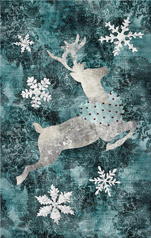 laser cut fabric kit for Joyeux Noel Left-Side Reindeer quilt block