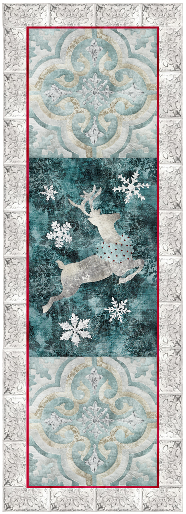laser cut fabric kits for Joyeux Noel Reindeer Left-side 3-block group quilt block