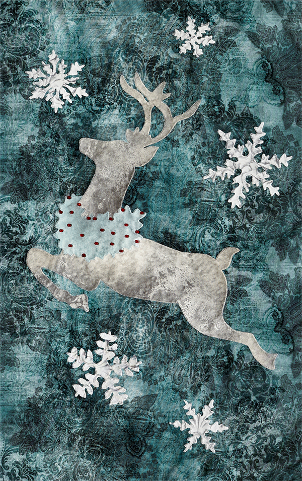 laser cut fabric kit for Joyeux Noel Right-Side Reindeer quilt block
