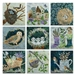 Collection of nine quilt blocks featuring birds, chicks, eggs, bird houses, nests, garden boots, watering can, wheelbarrow and tools