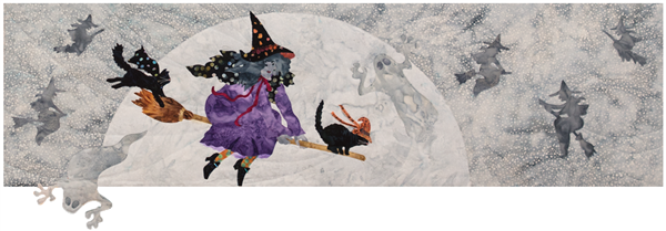 Witch and two black cats riding a broomstick against a large full moon. Witches and ghosts in the background.