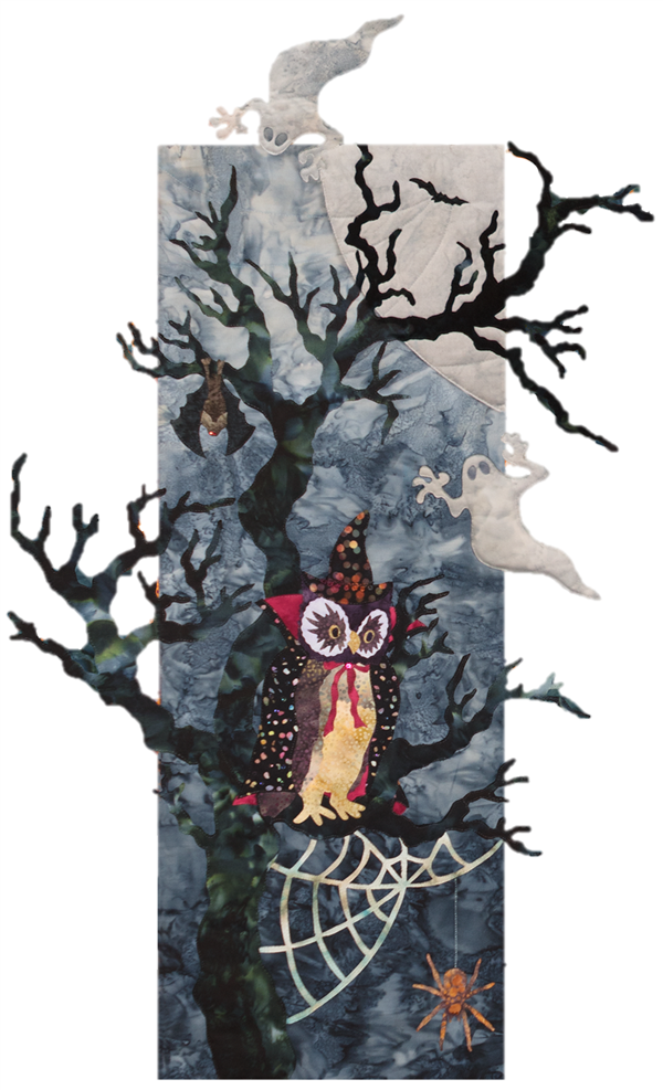 Owl, dressed up as wizard, perched on spooky tree with spider and bat.