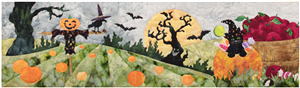 Kitten at the pumpkin patch, popping out of a pumpkin filled with candy next to a bushel of apples. There is a scarecrow in the field and a spooky tree in the background under a harvest moon