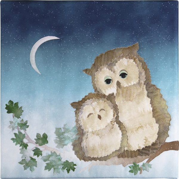 In the moonlight a mama Owl and her baby snuggle on a branch