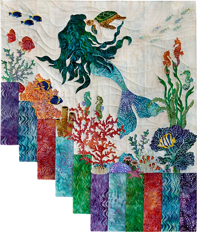 Mermaids have lots of friends under the sea, including seahorses, clown fish, and one lucky turtle!