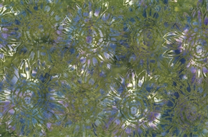 Batik fabric print of sunflowers in olive green with blue, purple and cream.