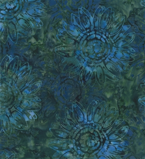 Batik fabric print of sunflowers in emerald greens and deep blues.
