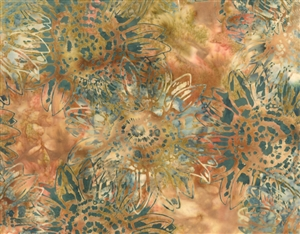 Batik fabric print of sunflowers in golden oranges with teal green.