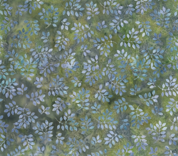 Batik fabric print of tiny leaves in moss green and lavender purple.