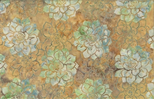 Batik fabric print of succulents in warm shades of dark sand and green