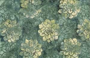 Batik fabric print of succulents in shades of green