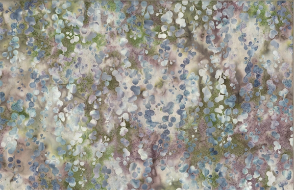 Batik fabric print of string of pearls in tones of green and purple