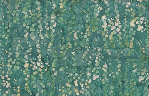 Batik fabric print of string of pearls in tones of blue green turquoise