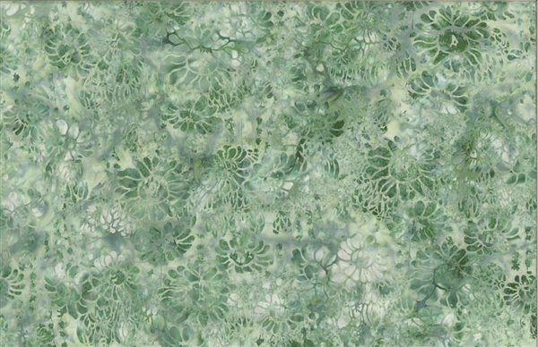 Batik fabric print of succulents and flowers in tones of medium green