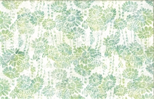 Batik fabric print of succulents and flowers in green and neutral tones