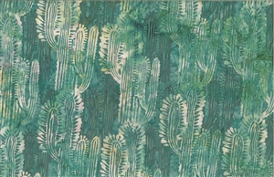 Batik fabric print of cactus in tones of green