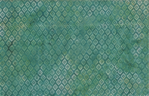 Batik fabric print in southwest geometric design in tones of green