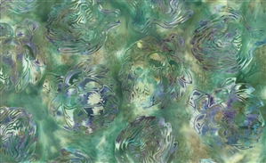 Batik fabric print of artichokes in moss greens with purple and blue.