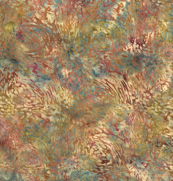Batik fabric print of feathers in wine reds and yellow-greens with a cream and dusty blue mottled background.