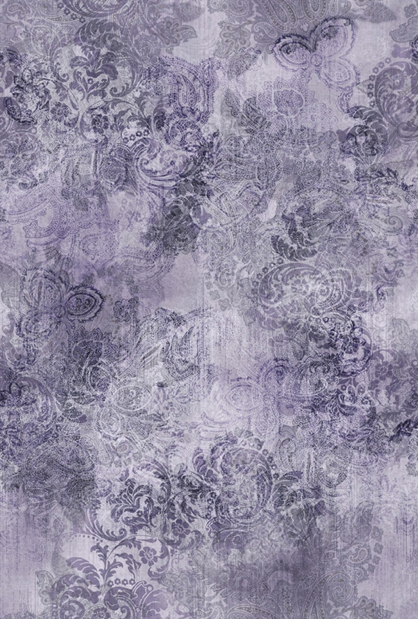 Paisley digital print fabric in purple tones