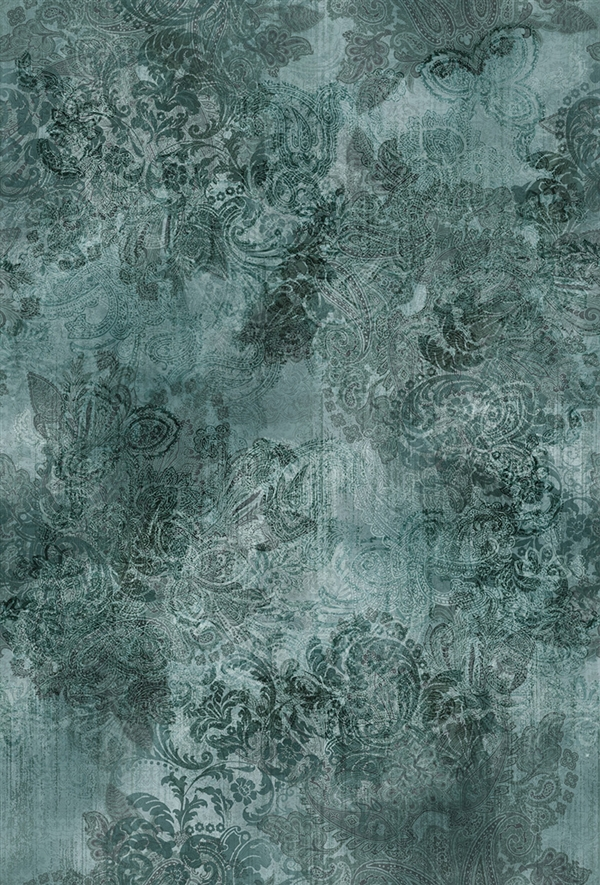 Paisley digital print fabric in blue green teal tones