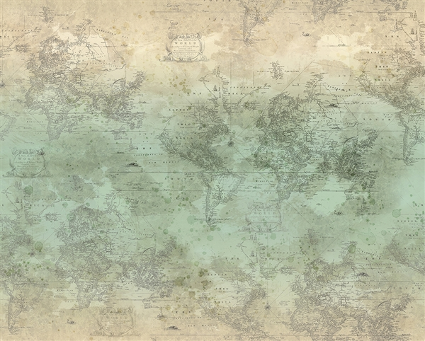 Old world map digital print fabric in green and neutral tones