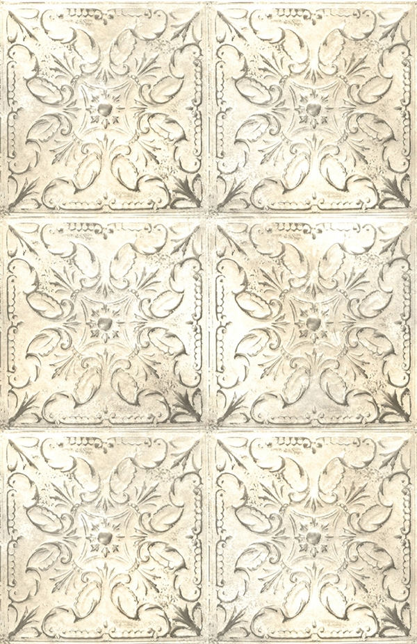 Tin tile digital print fabric in ivory tones