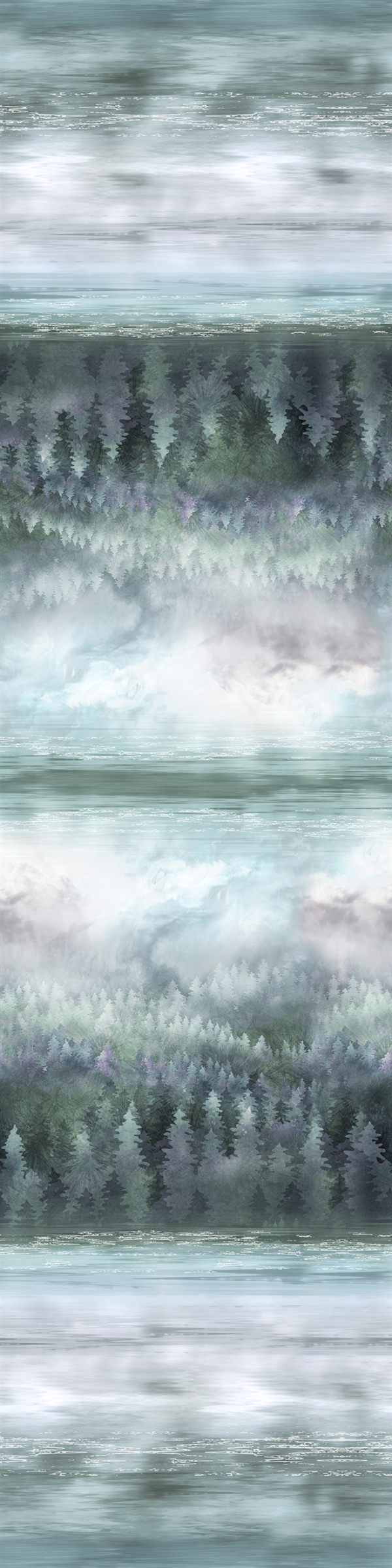 Winter Sky Trees Water in cloudy evening gray green and blue-purple tones in a digital print fabric