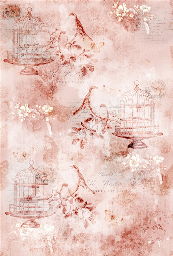 Whimsical design of birds in cages print fabric in coral tones