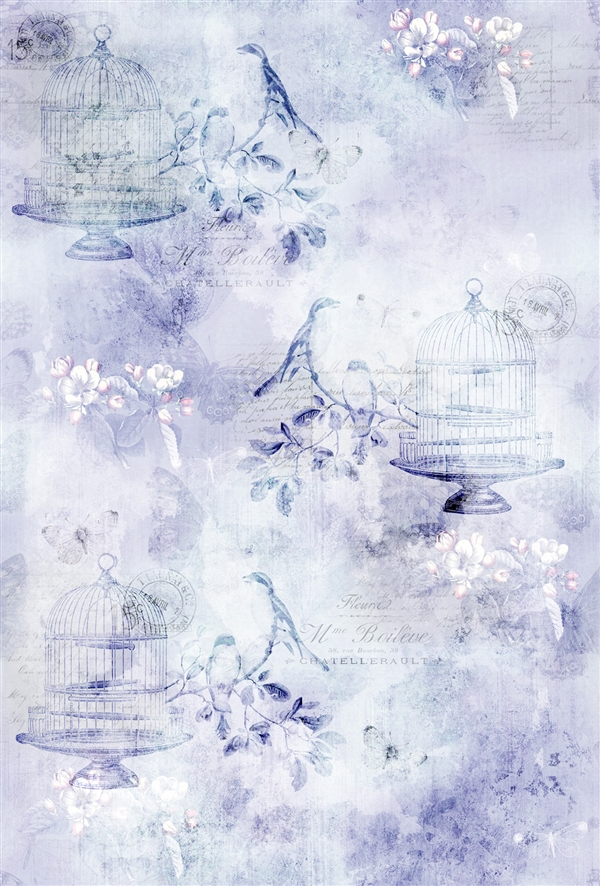 Whimsical design of birds in cages print fabric in soft purple tones
