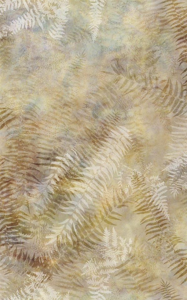 Digital print fabric of fern fronds in cream, beige, and greenish blue tones