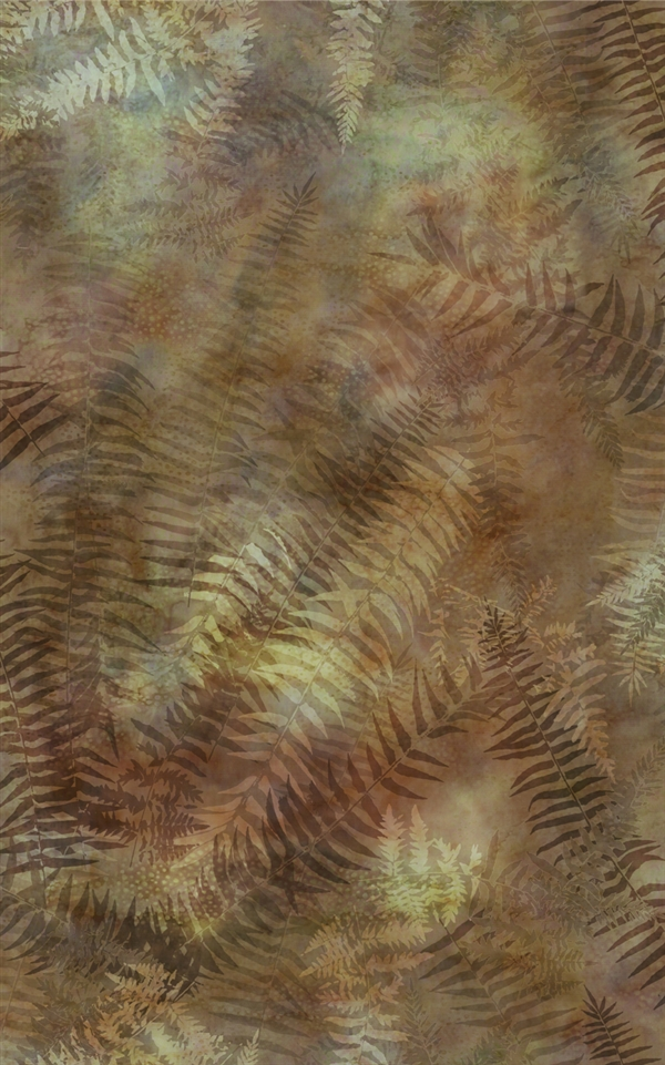 Digital print fabric of fern fronds in amber, brown and green tones
