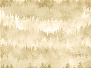 Digital print fabric of trees in beige and cream tones