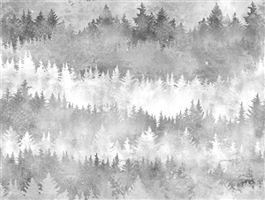 Digital print fabric of trees in gray and white tones